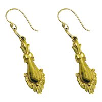Art Deco Dangle Drop Earrings Gold Filled Victorian Revival Style