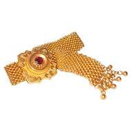 Exceptional Victorian Mesh Bracelet Garnet Slide Tassel Drops