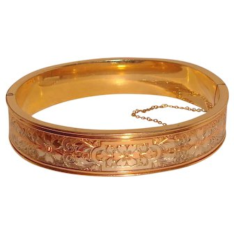 Victorian Gold Filled Bangle Bracelet Rose Yellow White