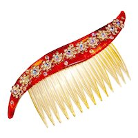 Fancy Hair Comb Rhinestone Flowers Wedding