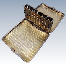 ITEM RESERVED: Unusual American Antique (c1918) Solid Sterling Silver Spring-Loaded LIFT-UP Cigarette Pocket Card Display Case WWI. Early 20th-Century.