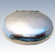 Antique VICTORIAN (1895) Solid Sterling Silver English Birmingham Hallmark Oval shape TOBACCO Snuff BOX