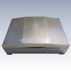 ITEM RESERVED.  Large (1946) Solid Sterling Silver Birmingham hallmarked Cigarette/Trinket Box Case. Vintage. 20th-century.