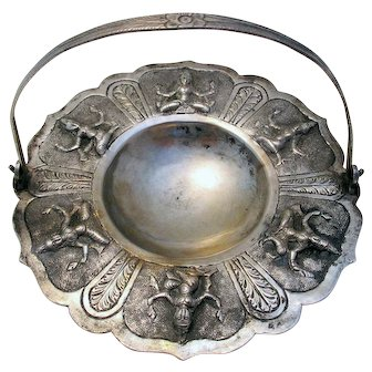 Indian-Madras Antique (c1890) Low Grade Silver/White Metal Footed Dish/Bowl/Basket with a Swing Handle. Hindu Deities.