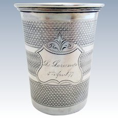 Antique (c1877) Solid Silver 800+ Guilloche Beaker Mug Cup. French/Continental. 19th-century.