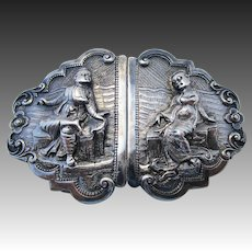 Rare Antique Ornate BURMESE (c1890) Solid Silver 900 Hand Chased & Repousse Antique BELT BUCKLE.