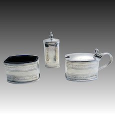 RARE LIBERTY & Co. Art Deco English Hallmark Solid Sterling Silver CRUET Set (Salt, Pepper, Pepperette, Shaker, Glass Liner, Mustard Pot)