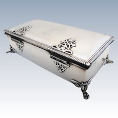 Very Large ANTIQUE Solid Sterling Silver Cigarette/Trinket/Jewelry Box Case Casket. English Hallmarks. Early 20th-century. Strap work Hinges.