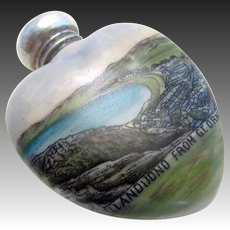 Rare Welsh/North Wales Solid Sterling Silver Lid Top & Ceramic Scent Perfume Bottle, Llandudno from Great Orme. Edwardian/Early 20th-century