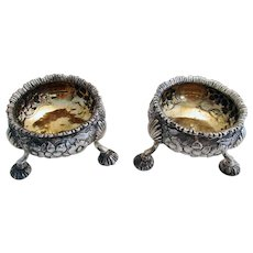 ITEM RESERVED:  Pair GEORGIAN George III (1772) ANTIQUE Sterling Silver English Hallmarked Salts Dish Cellars