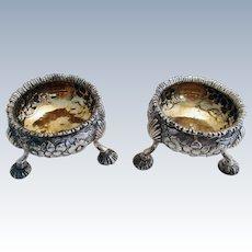 ITEM RESERVED:  Pair GEORGIAN George III (1772) ANTIQUE Sterling Silver English Hallmarked Salts Dish Cellars