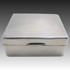 20s Solid Sterling Silver Cigarette/Trinket/Jewelry Box Case Casket. Minimalist/Art Deco. English Hallmarked. Early 20th-century.
