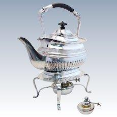 Antique (c1900) Victorian/Edwardian Silver Plated SPIRIT KETTLE, Patent Burner, English SHEFFIELD. (Tea Pot & Stand)