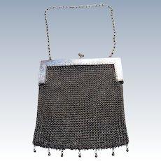 RARE SHANGHAI Chinese Export (c1910) 900 Solid Silver Antique Mesh Evening Purse/HandBag/Bag WOSHING.