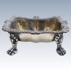 Extremely Heavy Scottish Antique (1896) Sterling Silver Hallmarked MASTER SALT Dish Cellar. 19th-century.