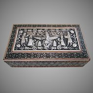 Rare Parsi Silver Mounted Zoroastrian Faravahar, Indian Bombay Sadeli Antique Box. 19th-century.