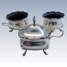 Early 20s Solid Sterling Silver Salt and Mustard Pot Bowl Cellar, 3-Piece Vintage Cruet + Spoon. Birmingham English Hallmarked, Walker & Hall.