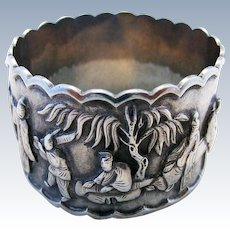 Beautiful ANTIQUE 19th-Century Chinese Export (c1890) Solid Silver Serviette NAPKIN RING.