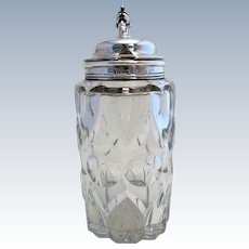 Rare large (1841) Antique Sterling SILVER Top Lidded & Cut Glass Condiment Jar MUSTARD POT. 19th-century.