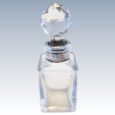 Antique Edwardian (1907) Solid Stering Silver Lid & Cut Glass Scent Perfume Toiletries Vanity Bottle/Jar/Pot/Box/Container.