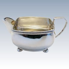 ART DECO (1929) Solid Sterling Silver Milk Cream Jug. Antique/Vintage. English Chester Hallmarked.