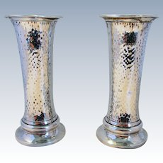 Beautiful Arts & Crafts ANTIQUE (1903) Solid Sterling Silver Edwardian English Hallmarked Pair of Planished Vases.