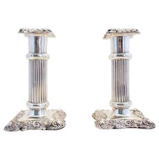 "Antique Victorian (1900) Solid Sterling Silver English Candlesticks Candle Holders. 4 1/2"" tall."