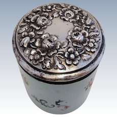 ITEM RESERVED: Rare Austrian Antique (1844) 812 Silver Top Lidded & Glass Dressing Table Storage Bottle/Box/Jar/Pot/Container (pre Austro Hungarian). 19th-century