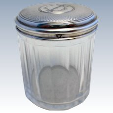 French Antique (c1890) Solid SILVER 950 Top Lidded & Cut Glass Dressing Table Storage Bottle/Box/Jar/Pot/Container. Late 19th-century