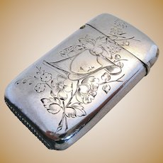 Lovely Rare Russian Antique Solid Silver 875 Match Box Striker Vesta Case. Moscow Hallmarked 84 Zolotniki. 19th-Century.