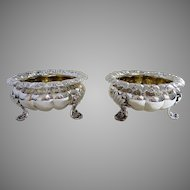 Large Pair 248g Antique Georgian Regency (c.1820) Solid Sterling Silver English Salt Cellars/Dishes/Bowls. Melon shape. Early 19th-Century.