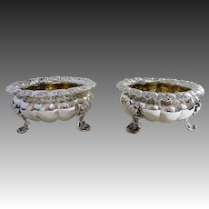 Large Pair 248g Antique Georgian Regency (c1820) Solid Sterling Silver English Salt Cellars/Dishes/Bowls. Melon shape. Early 19th-Century.