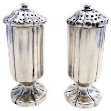 Rare Indian Colonial era (c1880), Art Nouveau Solid Silver 900+, Salt and Pepper Pots Castor Cruet Shaker Set. Hamilton & Co. 19th-century.
