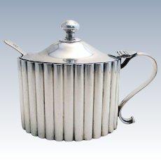 Huge Hamilton & Co. Rare Indian Colonial Solid Silver 900+ Standard Mustard Pot, India Calcutta.