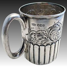 Antique Victorian (1899) Solid Sterling Silver Christening Childs Cup Mug English Sheffield, Late 19th-century.