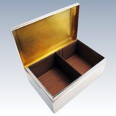 Top Quality Walker & Hall (1914) Antique Solid Sterling Silver Cigarette Cigar Trinket Jewelry Casket Case Box. Modernist/Minimalist.
