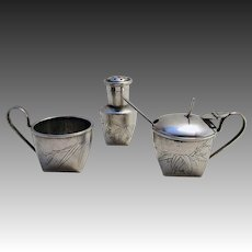 ANTIQUE Chinese Export (c1910) Solid Silver three 3-Piece CRUET set (salt pepperette pepper mustard pot glass liner spoon) TACKHING.