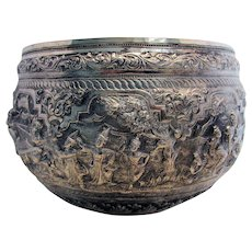 Magnificent Burmese Antique (1913) Repousse THABEIK BOWL White Metal. Early 20th-Century. Kalewa, Upper Burma.
