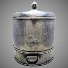 Large & Heavy (c1900) Rare Chinese Pewter Paktong Antique Food Basket Steamer Warmer Lidded Dish Caddy Box.