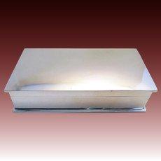 20s Sleek Minimalist Solid Sterling Silver Vintage Cigarette Cigar Trinket Jewelry Casket Card Case Box. Early 20th-Century.