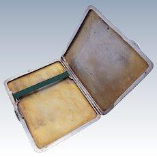 ART DECO (1936) Solid Sterling Silver 925 Cigarette Card Compact Case Box. English Birmingham Hallmarked.