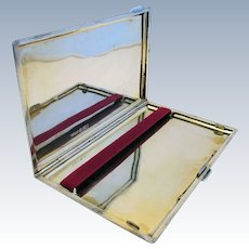 MINIMALIST (1928) Solid Sterling Silver 925 Cigarette Card Compact Case Box. English Birmingham Hallmarked. Plain Mirror Finish.