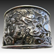 Dragons & Pearl. ANTIQUE 19th-Century Chinese Export (c1890) Solid Silver Pierced Serviette NAPKIN RING.