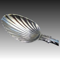 """Rare 1784 """"Feather Edge with Shoulders"""" Pattern, George III Georgian Solid Sterling Silver Tea Spoon, Late 18th-Century."""