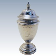 ANTIQUE 1919 Solid Sterling Silver Pepper Pot Jar Bottle Shaker Caster Pepperette in Georgian desgin. English Birmingham Hallmarks. Monogram 'L'