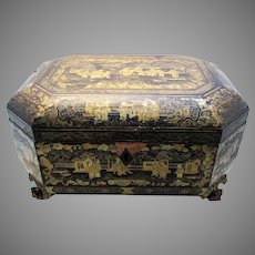 Large 19th-Century (c1850) ANTIQUE Chinese Gilded Lacquered Wood Wooden Chinoiserie Table Box/Casket. Hand painted Decorations.