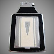 Rare Genuine Ronson Chrome & Black Enamel Cigarette Lighter Compact Combination Case. Art Deco. Vintage.