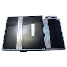 Rare Genuine Ronson Chrome & Black Enamel Cigarette Lighter Combination Large Case. Art Deco. Vintage.