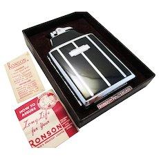 Quality Ronson MASTERCASE Chrome & Black Enamel Cigarette Lighter Combination Case. Art Deco. Vintage.