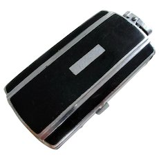 Art Deco Genuine Ronson Chrome & Black Enamel Cigarette Lighter Combination Case. Vintage.